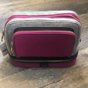 3 compartment fossil make up bag
